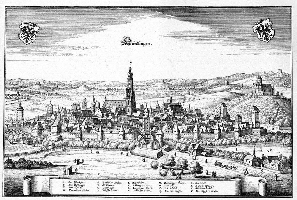 Nördlingen, uma cidade dentro de uma cratera