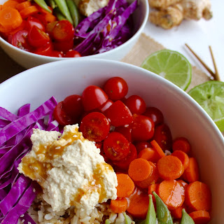 Rainbow Veggie Bowl with Ginger Miso Dressing.