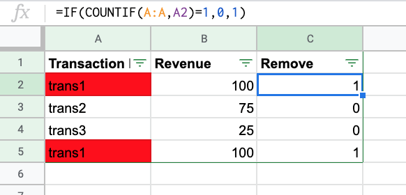removing duplicate transactions from spreadsheet data.