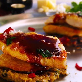 Demi-Glace Chicken Scallopine with Olive Polenta
