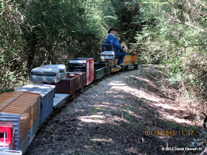 Photo: Doug Blodgett with David Hannah's loco and train     HALS Run Day DH3