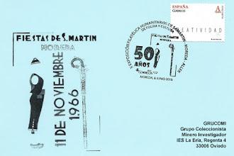 Photo: Tarjeta con el matasellos dedicado a los 50 años de folixa y cultura de los Humanitarios de San Martín de Moreda