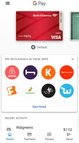 'Google Pay App Sample Interface 2: Google Pay Whole Foods Market $125.34 1200 Varney Pl. Sacramento 4:34pm Get helpful info while you shop Google Pay will let you know when there are offers and more available nearby Turn on location'