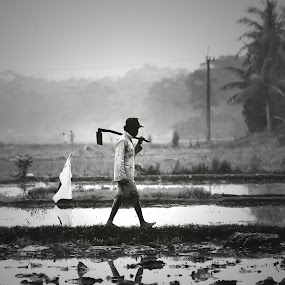 GO HOME by Hasby Photography - Black & White Street & Candid ( reflection, rice, farmer, black and white, bw, reflections, candid, people )