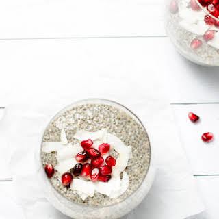 Pomegranate Chia Seed Pudding with Silk Cashew Milk.