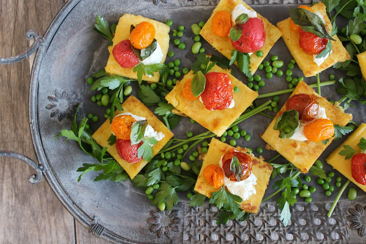 Crispy Polenta with Goat Cheese, Roasted Tomato and Basil Rezept ...