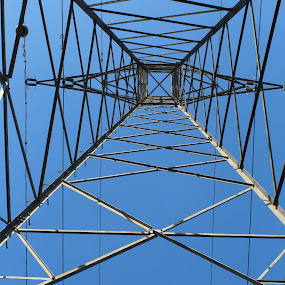 Under a Pylon by Morgan Bardon - Buildings & Architecture Other Exteriors ( pylon, wires, blue sky, outdoor photography, electrical )