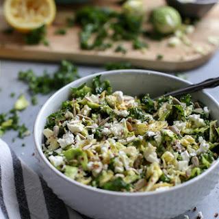 Shredded Brussels Sprouts Kale Quinoa Salad with Lemon Dijon Vinaigrette Recipe