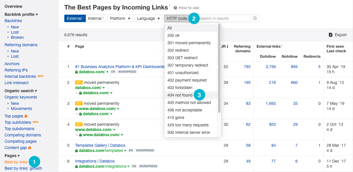 find broken pages in ahrefs