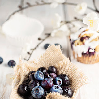 Iced Berry Oatmeal Breakfast Muffins.