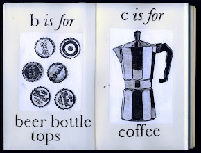 Photo: Philippa Robbins - folding book primer - b is for beer bottle tops'; c is for coffee