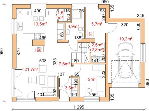 Dom przy Cyprysowej 21 - Rzut parteru