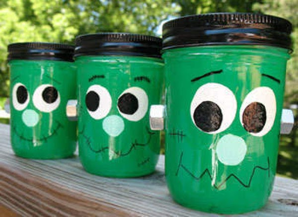 Green faced Jars.  Using a mason jar and spray paint designed for glass, spray the...