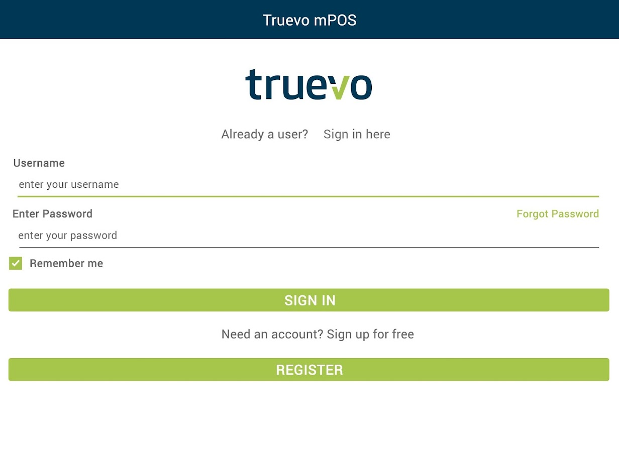 Truevo mPOS- screenshot