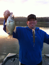"Photo: March 16, 2012 - Nick shows off a crappie ""double."""