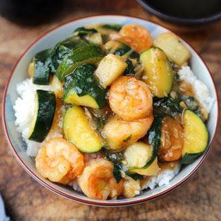 Shrimp Ankake Donburi (with Zucchini and Potatoes).