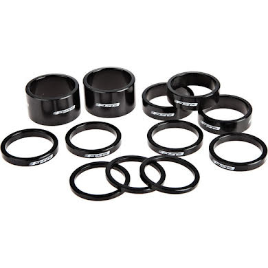 """FSA Assorted Headset Spacer Kit 1-1/8"""" Black with Logo"""