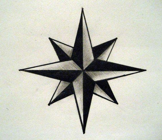 Nautical Star With Wings Tattoo Designs