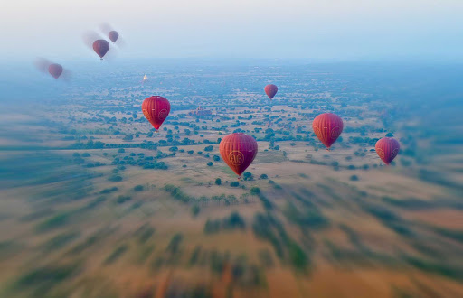 """Myanmar-balloons - There was something almost mystical and magical about the hour we spent floating above Bagan, and it certainly gave new meaning to the term """"bucket list."""""""