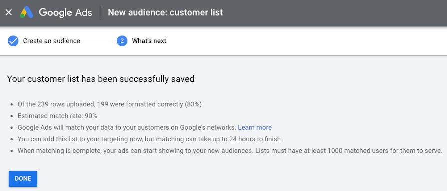 Screenshot of UI when uploading customer list