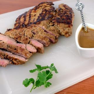 Grilled Asian Pork Tenderloin with Peanut Sauce.