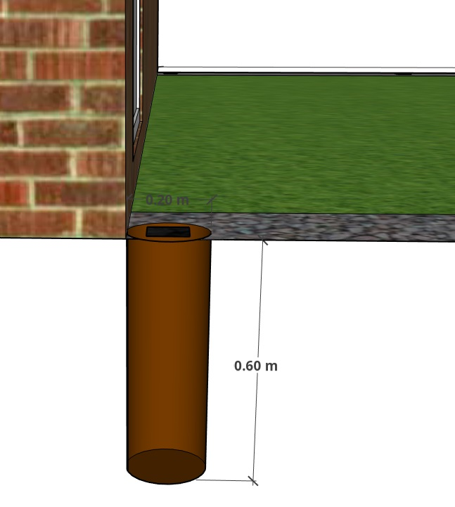 Diagram of a hole used to set a fence post