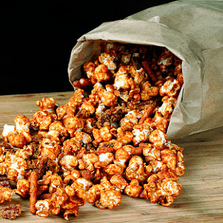 Beer Caramel Corn with Pretzels & Pecans