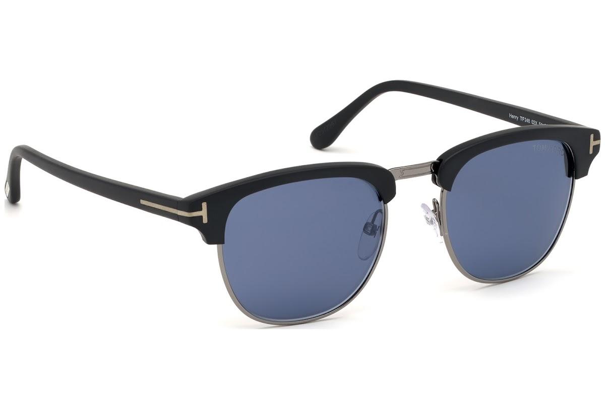 136f34d5f985b ... Sunglasses Tom Ford Henry FT0248 C51 02X (matte black   blu mirror). New