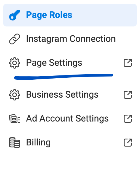Click on page settings to set up private messaging.