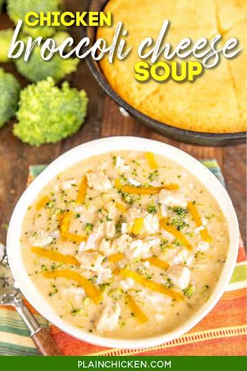 Chicken Broccoli Cheese Soup with Rice - Plain Chicken