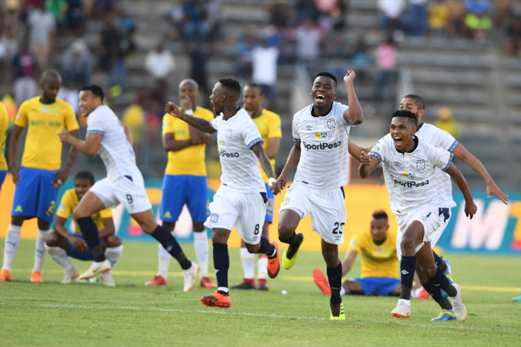 Cape Town City FC players celebrates during the MTN 8, semi final 2nd Leg match against Mamelodi Sundowns at Lucas Moripe Stadium on September 2 2018 in Pretoria.