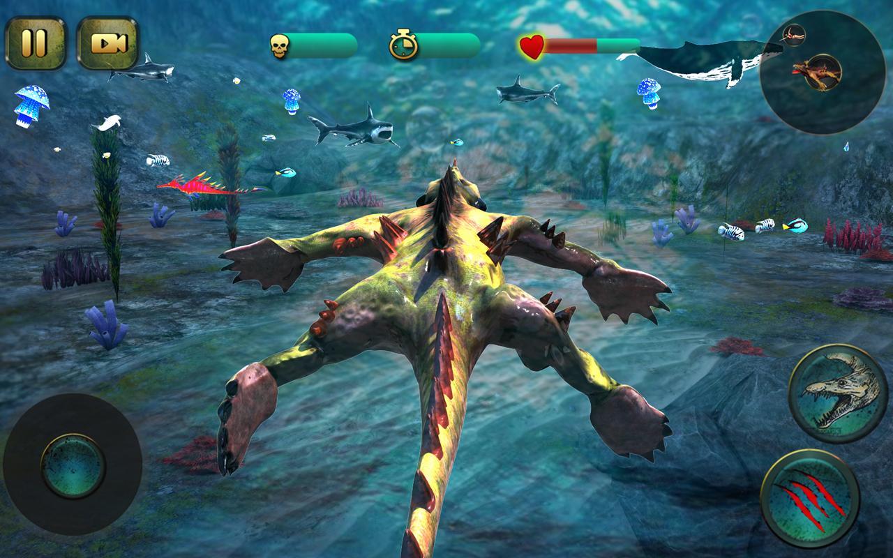 Ocean Monster Fighting On Beach
