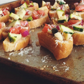 Chopped Tomato Salad Crostini