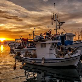 Sunset on the greeg island by Cora Lea - Transportation Boats (  )