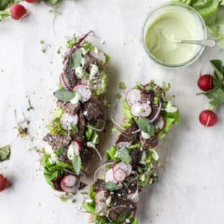 Open Faced Steak Sandwich with Avocado Horseradish.