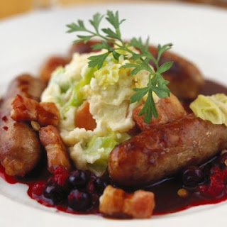 German Sausage with Mash and Blueberries.