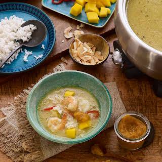 Caribbean Hot Pot Broth with Papaya Pica Sauce.