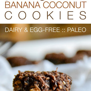 Dark Chocolate Banana Coconut Cookies.