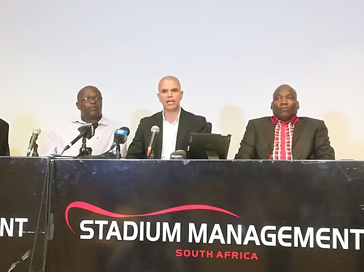 "Former Premier Soccer League (PSL) referee and general manager Andile ""Ace"" Ncobo (C) is entangled in a war of words with the leadership of the SA Football Association (Safa)."