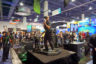 Photo: More virtual reality gear with a platform and slippery shoes, allowing you to walk and play
