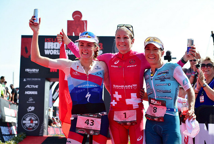 1 September 2018 - From left, Lucy Charles (2nd), Daniela Ryf (1st) and Anne Haug (3rd)