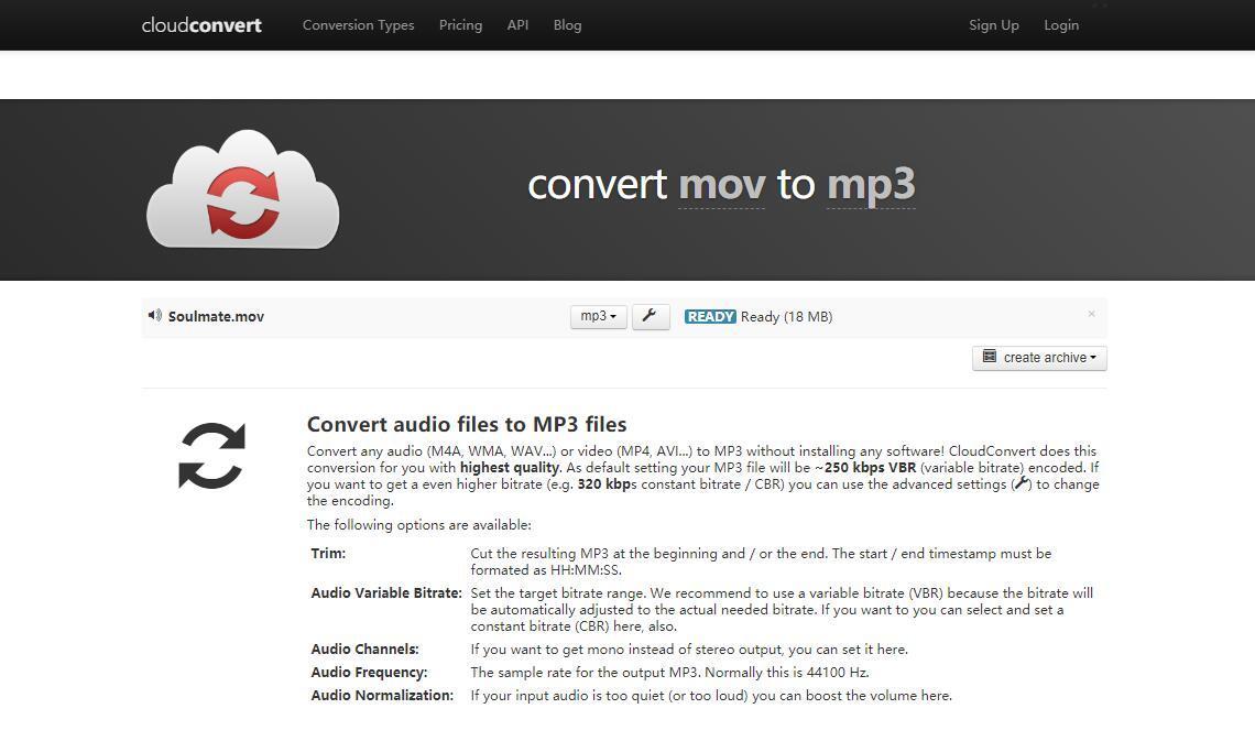 the interface of CloudConvert