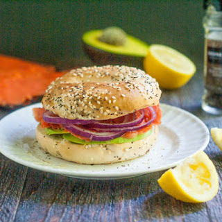 Smoked Salmon Bagel Sandwich.