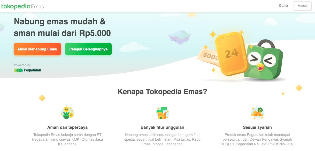 Aplikasi nabung emas dari Tokopedia