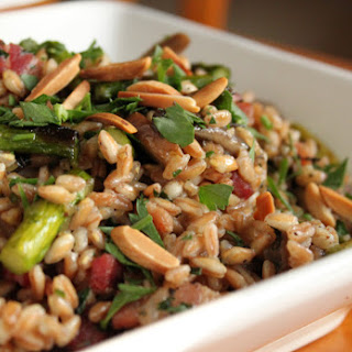 Farro with Mushrooms, Bacon and Asparagus.