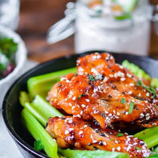 Crispy Baked Chicken Wings with Kimchi Caramelized Honey Sauce
