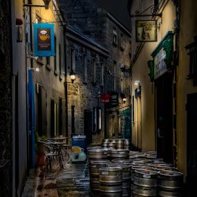 The Party Is Over by John Finch - City,  Street & Park  Street Scenes ( bar, stone walkway, street scene, keg, alley, night scene, pub )