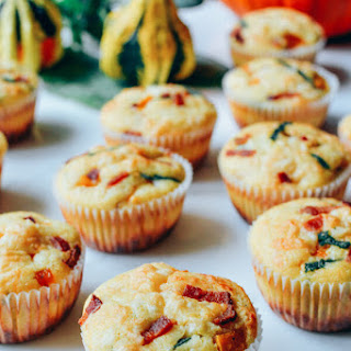 Savory Maple Corn Muffins with Butternut Squash, Bacon, and Cheese