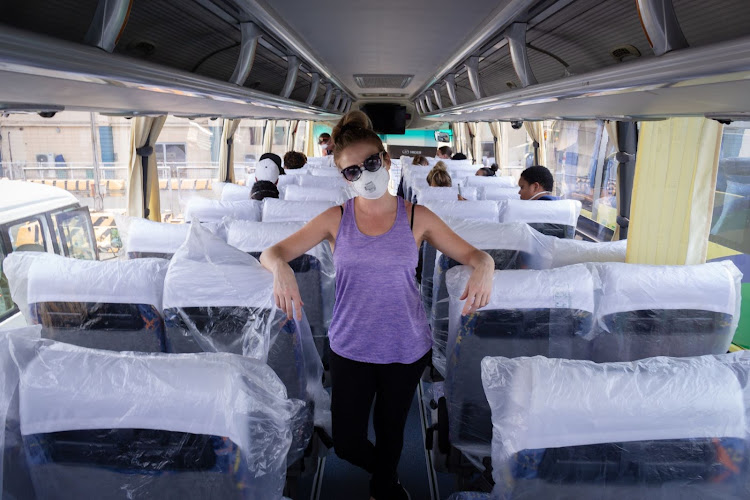 Megan du Toit on the bus taking them to the airport in Manila, the Philippines