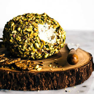 Japanese-Spiced Goat Cheese Ball with Pistachios.